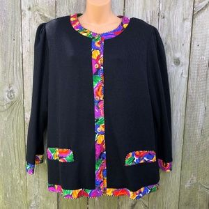 Le Damor Plus Size Black Cardigan Sweater USA 20W